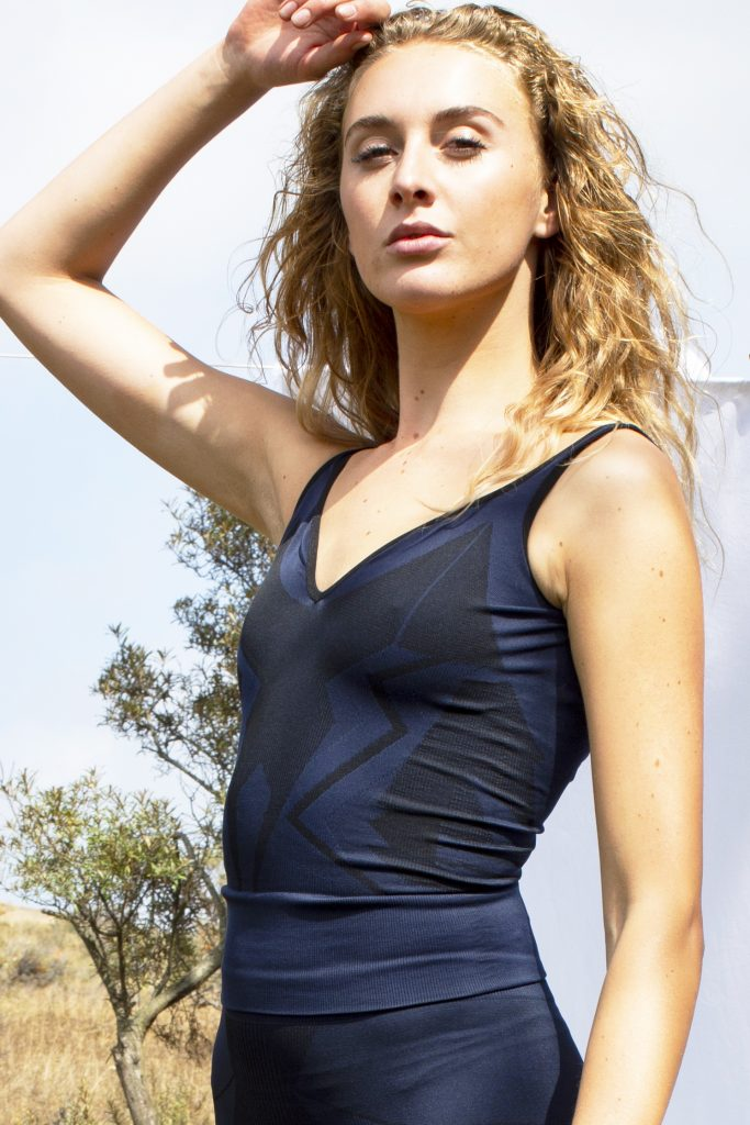 close-up of girl wearing activewear singlet