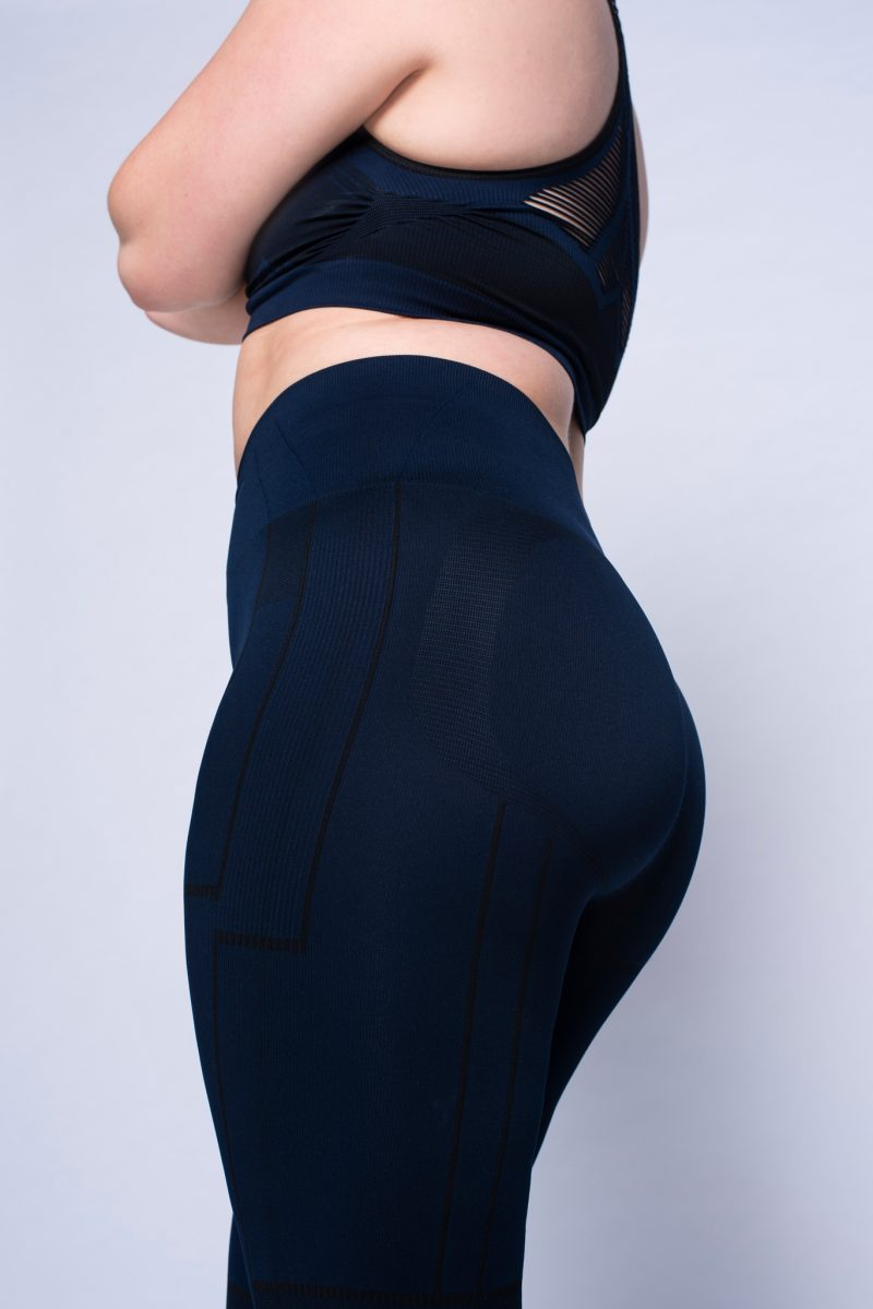 Close-up of activewear legging with uplifting buttocks effect